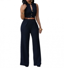 Fashion Big Women Sleeveless Maxi Overalls Belted Wide Leg Jumpsuit 7 Colors   macacao long pant black M