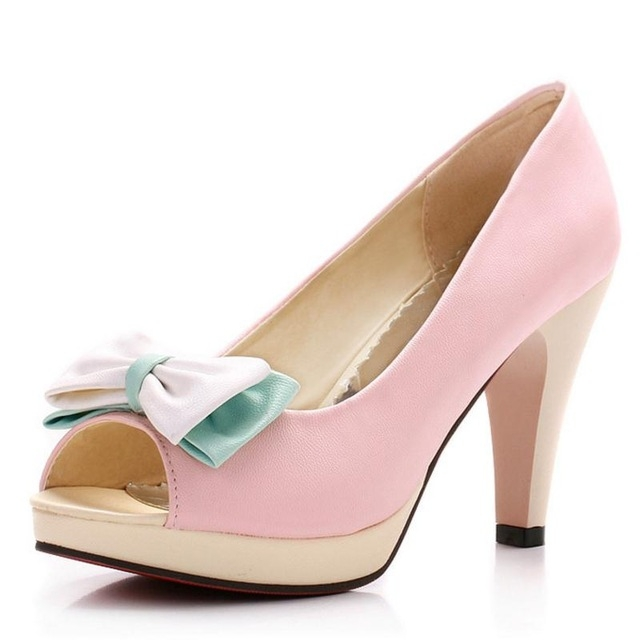 5aa705b552 Woman Peep Toe High Heel Shoes Platform Sexy Ladies Dress Shoes Women  Wedding Pumps Heeled Footwear pink US 12