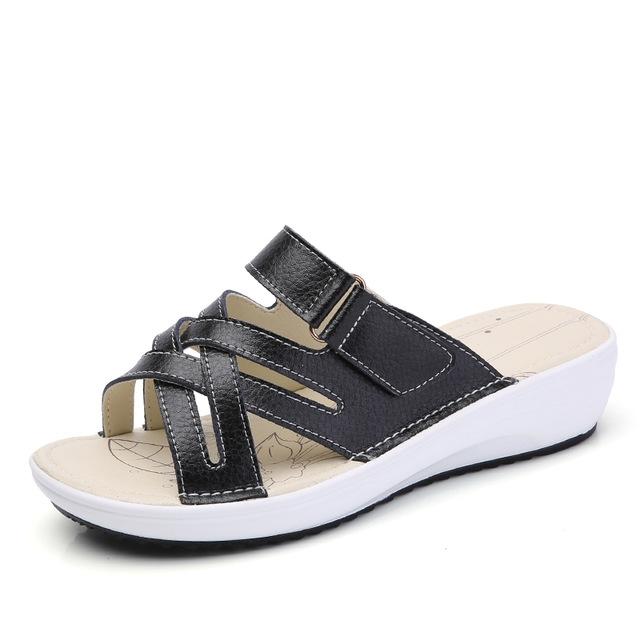 17841598a women sandals Shoes Leather flat Sandals Low Heel Wedges Summer women Open  Toe Platform Sandalias black 4.5  Product No  705121. Item specifics  Brand