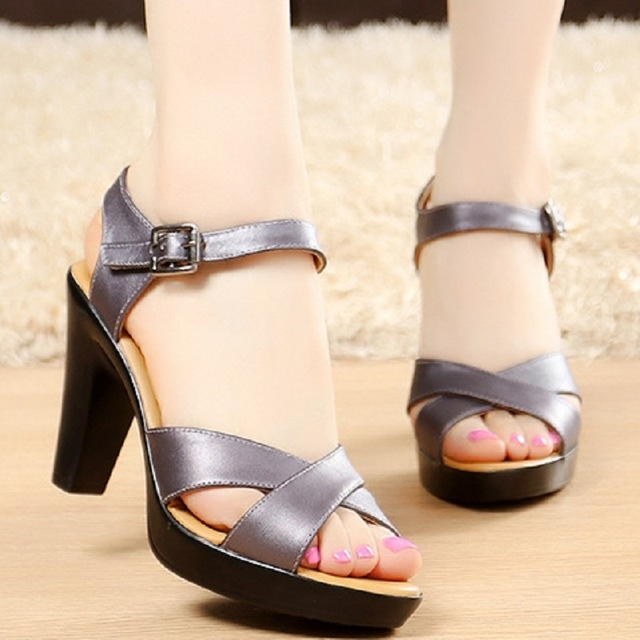 87c921364 Summer Women Pumps Fashion Gladiator Sandals Genuine Leather High Heels  Roman Sandals gray 5.5  Product No  706046. Item specifics  Brand