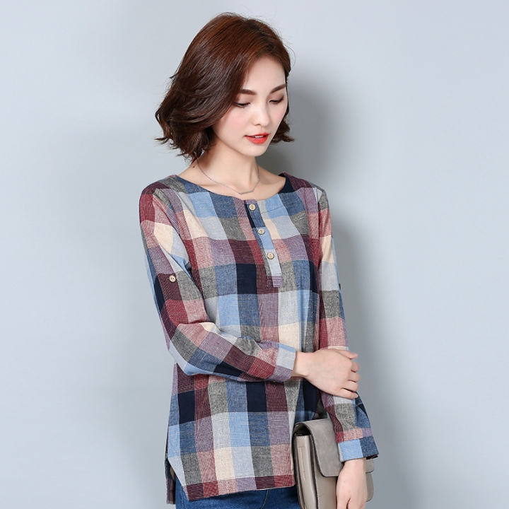 8b2d873f720ab8 Women Cotton Linen Blouse 2016 Autumn Long Sleeve Checked Shirts Korean  Style Female Casual Tops 02