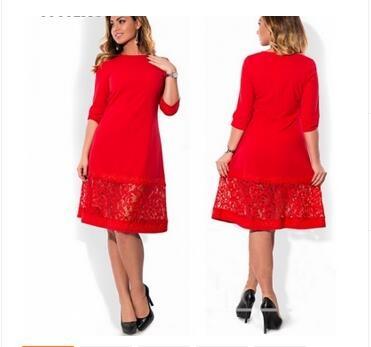 d71c28558ee7a Women dress big sizes Autumn o-neck loose dresses plus size Knee-Length  dress black red casual dress red 5XL