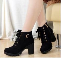 Velvet Short Ankle Snow Botas Thick Heels Wild Black Matte Female Miss Female Feminina Women Shoes black 39