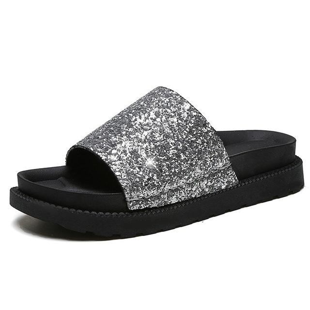 fb29e496b 2017 Women Flats Summer Home Platform Slippers 3 cm Heels Sandals Woman Flip  Flops silver us