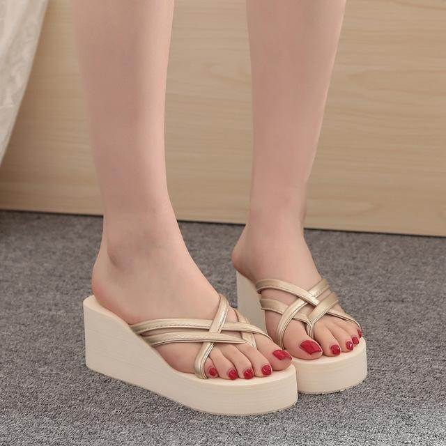 d5f2ab83910 Summer Women s Ultra High Heels Beach Slippers Fashion Wedges Platform  Sandals Flip Flops beige us 4  Product No  729815. Item specifics  Brand