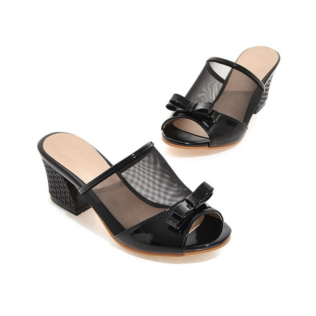 cf6b63f0ca0 Women Slides Slippers Mesh Patent Leather Bow Outdoor Casual Big Plus Size  Summer Pink Ladies Shoes black us 6  Product No  730763. Item specifics   Brand