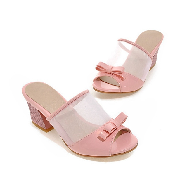 e9b055f7aaf Women Slides Slippers Mesh Patent Leather Bow Outdoor Casual Big Plus Size  Summer Pink Ladies Shoes pink us 15  Product No  730804. Item specifics   Brand