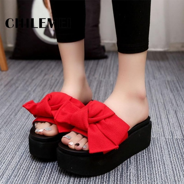 4e90bf5b99252c Summer Women Shoes Platform Anti-Skid Slippers Wedge Beach Flip Flops High  Heel Slippers red us 8  Product No  731099. Item specifics  Brand