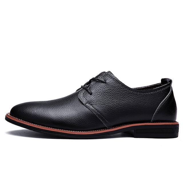 91418ba2499ba Men Genuine Leather Brand Spring Autumn Men's Formal Leather Shoes Dress  Biritsh Vintage Retro Shoe black us 9