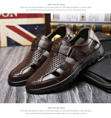 2017 New Men Father Sandals Cow Leather Black Brown Male Summer Shoes brown US 10