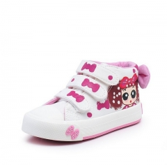 2017 New Canvas Children Sneakers Bowknot Baby Girls Princess Shoes white us 9