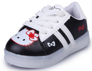 Girls Shoes Sport Sneakers 2017 Spring Brand Led Cartoon Girls Princess Shoes Sneakers black us 11