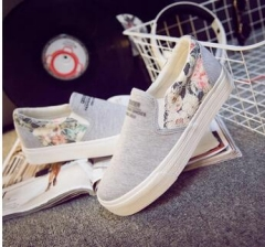 New Womens Flats Shoes 2016 Casual Canvas Espadrilles Channel Valentine Shoes gray 40