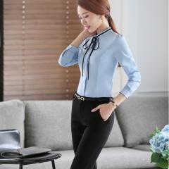 Sky blue women tie bow blouse shirt female casual style elegant fashion slim tops blue xxl