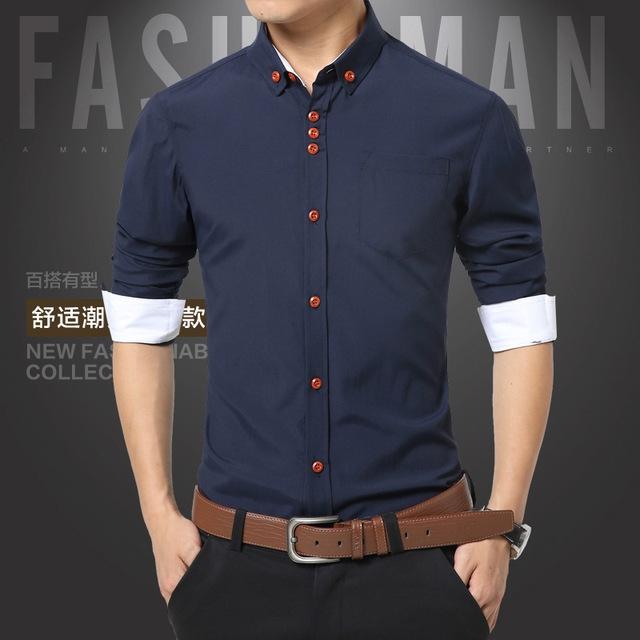 f4951d7dddc Summer Mens Dress Shirts Shirt Men Slim Fit Plus Size Long sleeve Stylish  Shirt Fashion Plus