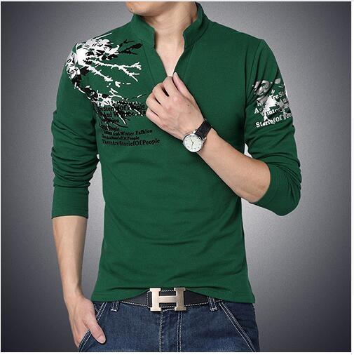 e3e594956f7b28 ... Print Slim Fit Long Sleeve T Shirt Men Tee V-Neck Casual Men T-Shirt 3  2xl  Product No  785320. Item specifics  Brand