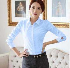 Chiffon Blouse Women Shirts Long Sleeve Turn Down Collar White Ladies Shirt Blusas Femininas light blue m