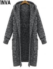 Black Long Cardigans Sweater with Hat Fashion Women Outwear Full Sleeve  Winter Warm Sweater Coat black L