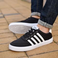 Men Canvas Shoes Breathable Casual Shoes Men Shoes Comfortable Shoes Flats Zapatos black 43