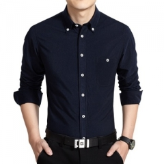 2017 New Arrival Men Casual Business Shirt Long Sleeve dark blue m