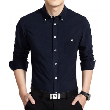 2017 New Arrival Men Casual Business Shirt Long Sleeve dark blue m