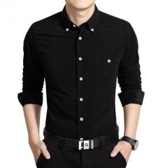 2017 New Arrival Men Casual Business Shirt Long Sleeve black m