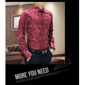 New Arrival Luxury Brand Mens Formal Shirts Long Sleeve Floral Men Shirt Tuxdeo Shirt red XXXL