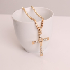 Cross necklace Men's jewelry Pendant Pendant with stainless steel chain Glod one size