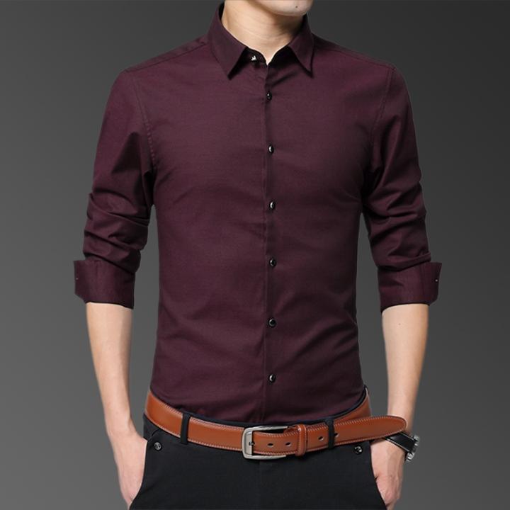 4b02640442e Mens Shirts Long Sleeve Casual Cotton Shirts Men Business Shirt Office Slim  Fit Blouse Man wine