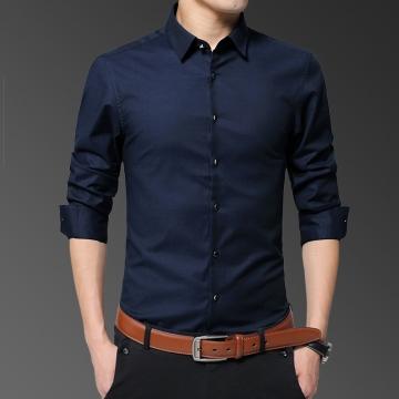 Mens Shirts Long Sleeve Casual Cotton Men Business Shirt Office Slim Fit Blouse Man Dark