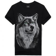 Cotton t shirt men summer new arrvial 3D funny wolf man's T-shirt black 2xl