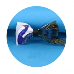 New Designer Bow Tie Natural Feather Bird Night Club Wedding  Male Married Feather bule ons  size