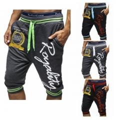 Fashion Mens Shorts Casual Cotton Letter Printed Sweatpants Jogger Trousers Knee Length Harem Shorts black  bule l