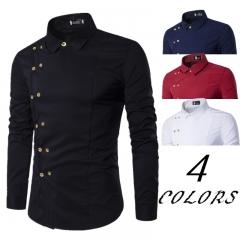 Men Fashion Clothing Men's Shirts Regular Fit New Men's Double Breasted Slim Long-sleeved Shirt black l