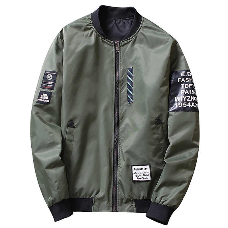 0d0e1597eb Bomber Jacket Men Pilot with Patches Green Both Side Wear Thin Pilot ...