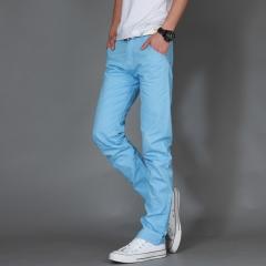 Casual Men Pants Cotton Slim Pant Straight Trousers Fashion Business Solid Khaki Black Pants sky  bule 32