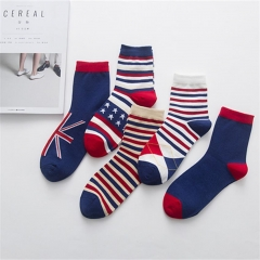 1Pair New Cotton British stripe flag socks men's Leisure socks Multi-color High quality Hot Sale Random normal normal