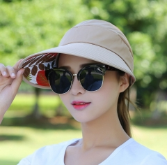1Pcs Summer Hats for Women Lady Foldable Roll Up Sun Beach Wide Brim Straw Visor Hat Cap khaki
