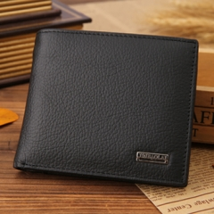 2017 NEW Designe euro genuine leather men wallets famous brand men wallet male black coin purse ID card dollar bill wallet black One Size