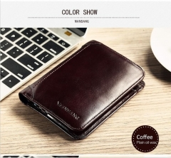 New Wallet Genuine Leather Men Wallets Short Male Purse Card Holder Wallet Men Fashion High Quality Coffee One Size