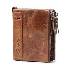 GUBINTU Genuine Crazy Horse Leather Men Wallet Short Coin Purse Small Vintage Wallets Brand High Quality Designer carteira brown One Size