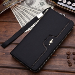 Designer Men Wallets Famous Brand kangaroo Men Long Wallet Clutch Male Wrist Strap Wallet Big Capacity Phone Bag Card Holder 001 Black One Size