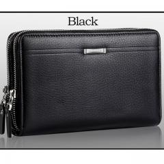 Men wallets with coin pocket long zipper coin purse for men clutch business Male Wallet Double zipper Vintage Large Wallet Purse Black One Size