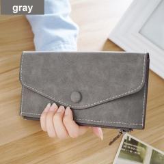 2017 matte leather women's wallet zipper bag vintage female wallet purse fashion card holder phone pocket long women wallet gray One Size