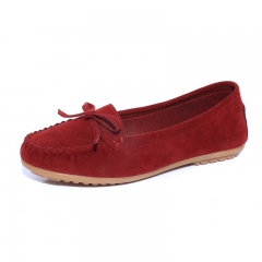 Women Ballets Flats Bow Boat Shoes Car Shoes Candy Color loafers Shallow Slip on Flat shoes wine red 37