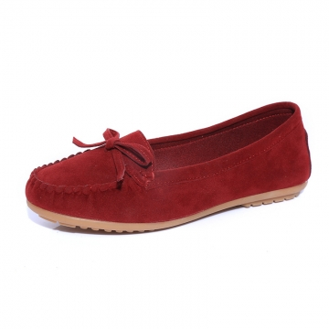 Women Ballets Flats Bow Boat Shoes Car Shoes Candy Color loafers Shallow Slip on Flat shoes wine red 38