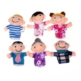 6 PCS Mon Dad Kids Grandparent Family Finger Puppets For Kids Baby Black One Size