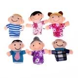 6 PCS Mon Dad Kids Grandparent Family Finger Puppets For Kids Baby Black One Size