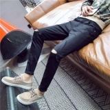 Cultivate men's jeans, men's knee hole stretch feet pants teenagers beggar-man pants Black Waist:33