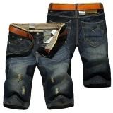 Men Summer thin waist straight hole cowboy pants retro Shorts jeans Blue Waist:36